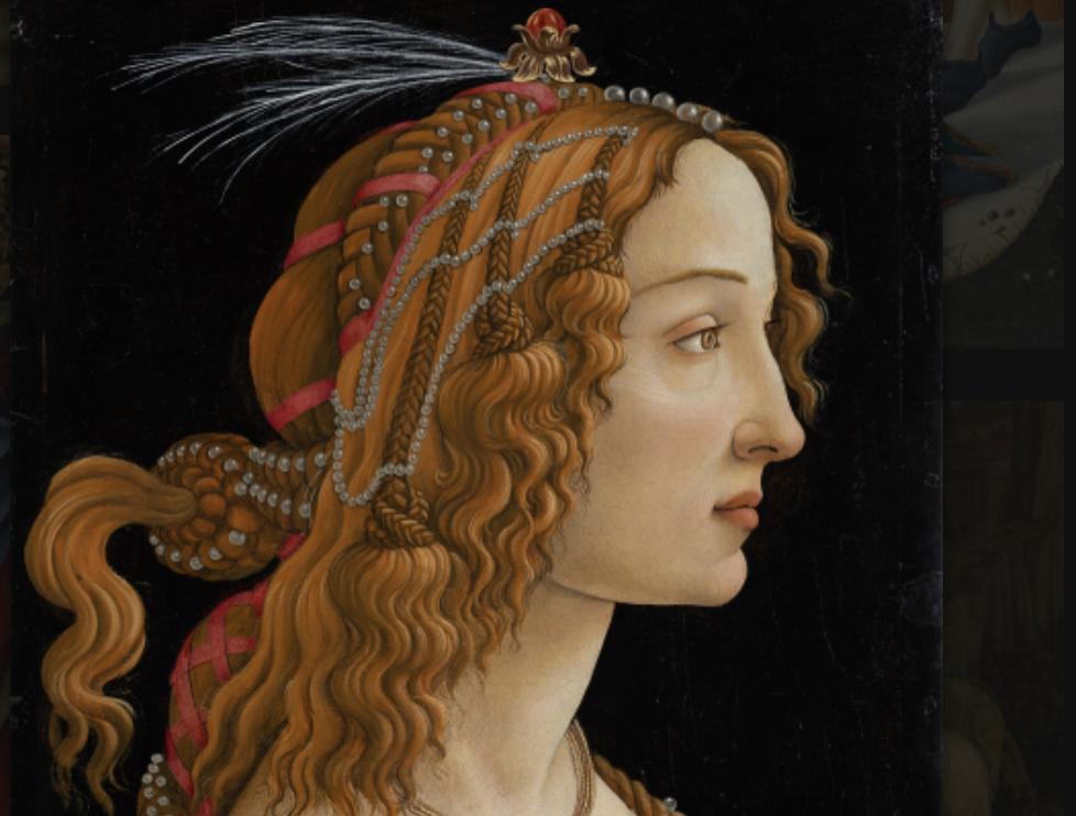 Alessandro Filipepi dit Botticelli (vers 1445 – 1510), Portrait de jeune femme dite La Belle Simonetta, vers 1485, tempera et huile sur bois de peuplier , 81,8 × 54 cm, Francfort-sur-le-Main, Städel Museum, CC BY-SA 4.0 Städel Museum, Frankfurt am